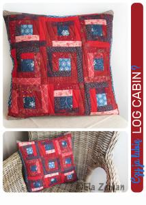 czerwona poduszka log cabin