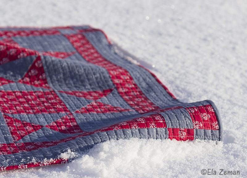 Czerwone i szare mini quilt wzór