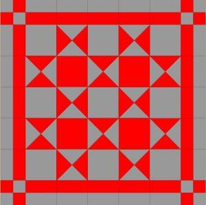 Czerwone i szare mini quilt projekt