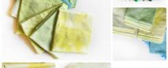 recznie farbowane tkaniny kolaz